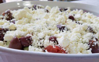 Layered Greek Dip with Homemade Hummus