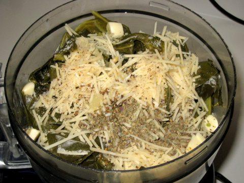 Collard Green Pesto in Food Processor