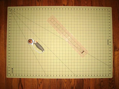 Cutting Mat with Rotary Cutter and Ruler