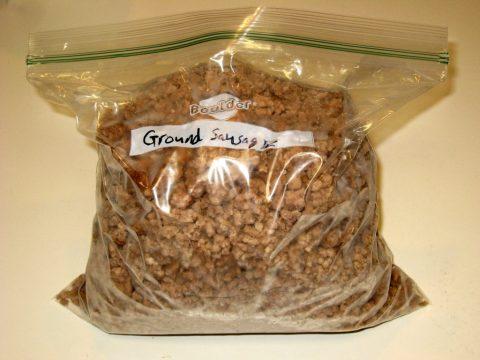 Freezer Bag with Ground Pork Sausage Crumbles