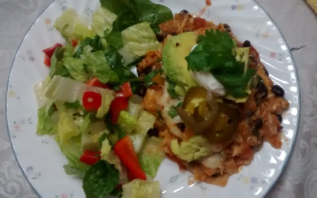 One Skillet Chicken and Black Bean Enchiladas