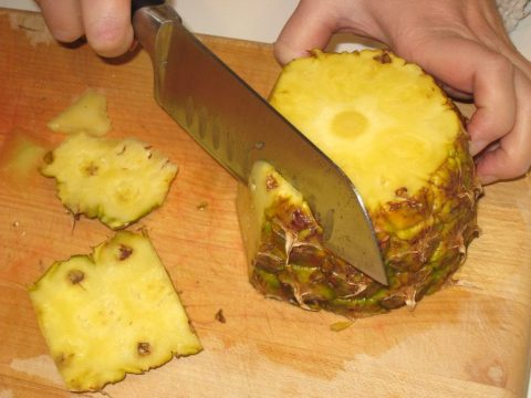 Slicing Whole Pineapple