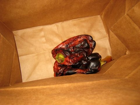 Sweating Roasted Red Bell Peppers