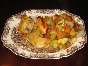 Maple roasted chicken with winter vegetables